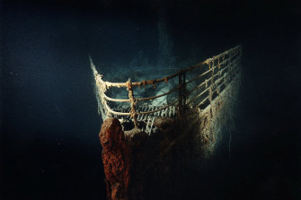 The Titanic's bow at the bottom of the Atlantic Ocean.