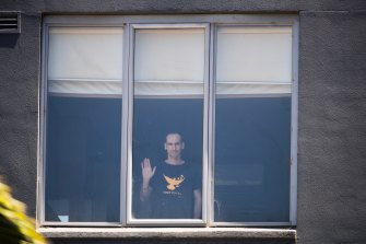 A refugee at the Mantra motel in Preston last week.