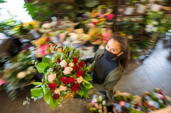 North Carlton florist Rahnee Moller called in friends and family to help rush out Valentine's Day orders in the days before yet another lockdown was imposed in February.