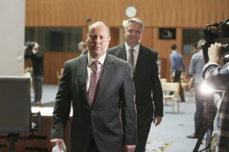 Treasurer Josh Frydenberg - flanked by Finance Minister Mathias Cormann - will deliver the 2020 budget on Tuesday night.