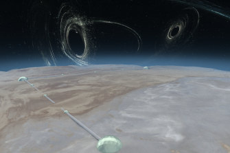 An artist's impression of how a 40 kilometre gravity wave observatory would look. In the sky above it are some of the black holes it might detect.