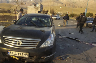 A photo, released by the semi-official Fars News Agency, shows the scene where Mohsen Fakhrizadeh was killed.