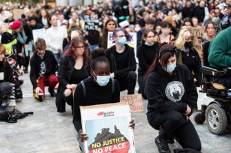 Thousands gathered in Perth on Tuesday for a Black Lives Matter rally.