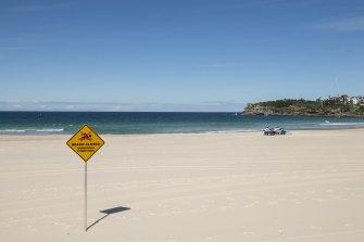 Bondi Beach is closed because of the coronavirus lockdown.