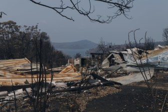 Properties destroyed in Conjola Park on the NSW South Coast.