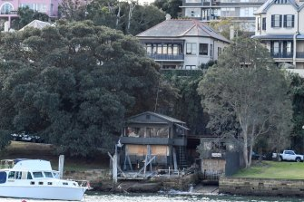 The rundown boatshed on the waterfront at McMahons Point in 2016.