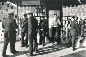 Police outside the bookshop in High Street, Thornbury where Maria  James was murdered.