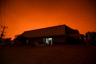 The sky above Mallacoota blazes red amid the fire danger.