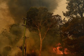 Fiery scenes on the outskirts of Bargo, NSW.