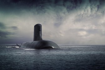 A supplied image of French submarine Shortfin Barracuda, designed by the DCNS group.