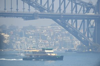 Smoke across Sydney Harbour due to the Gospers Mountain fire.