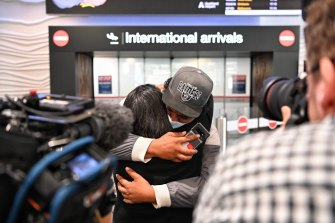 There were emotional scenes at Auckland airport in April 2021 as the first travel bubble flight from Australia landed.