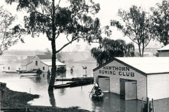 Hawthorn Rowing Club is submerged during the floods.