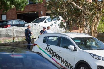 Police on the scene after the fatal balcony collapse at the Doncaster Tupperware party.