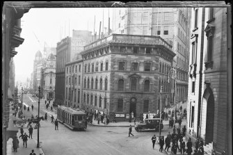 Rich history: The Herald building on Hunter and Pitt Street, Sydney, in the 1920s.
