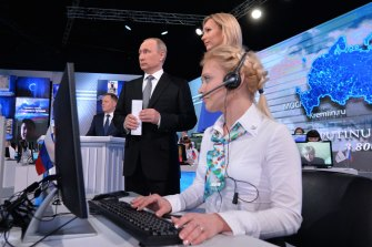 Putin on state TV for his annual call-in show where he hears and helps solve citizens' problems.