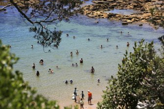 Head for the shores: Bathers enjoying fine weather last week at Little Bay near La Perouse in Sydney.