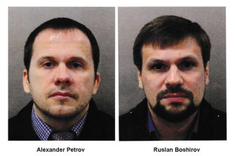 Czech authorities have sought more information about a visit by Russian men Alexander Petrov, left, and Ruslan Boshirov, who have separately been charged by British authorities for the poisoning of Russian spy Sergei Skripal and his daughter, Yulia, with the Soviet nerve agent Novichok.