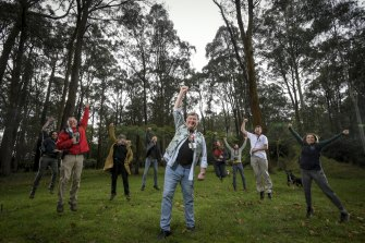 Steve Meacher ( centre ), the chair of Friends of the Leadbeater Possum and other members in Toolangi after their court win.