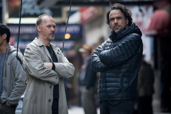 Michael Keaton and Alejandro Gonzalez Inarritu on the set of Birdman.