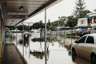 Flooding in Port Macquarie on Saturday.