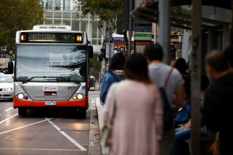 A Transdev bus in Lonsdale Street.