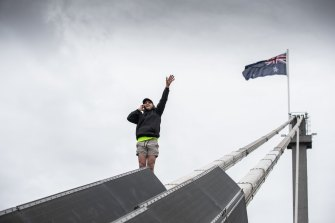A protester on the West Gate Bridge.