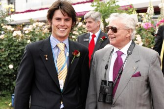 James and Bart Cummings together at Flemington in 2008.