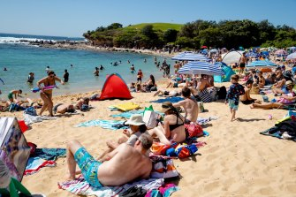 Little Bay Beach was packed, leading locals to say they only see it this busy on Christmas and new year.
