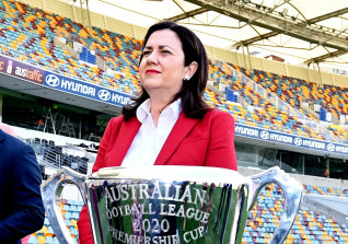 Premier Annastacia Palaszczuk at the announcement of the AFL grand final location at the Gabba on Wednesday.