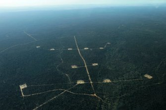Santos's CSG storage ponds in the Pilliga State Forest. Approval will open the way for 850 wells in the gasfield.