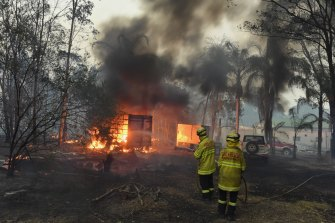 Buildings and property were lost as bushfires raced through Failford on the mid north coast, NSW.