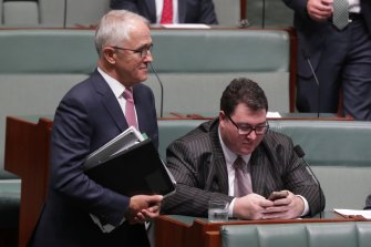Malcolm Turnbull and George Christensen during question time in 2017.