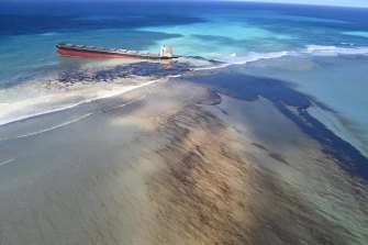Oil leaking from the MV Wakashio, a bulk carrier ship that recently ran aground off the south-east coast of Mauritius.