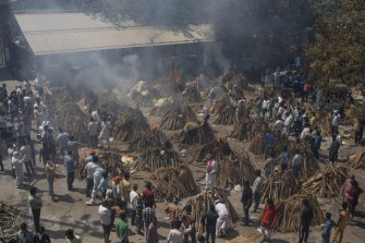 A mass cremation for COVID-19 victims takes place in New Delhi.