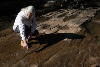 Peter Turner, from the National Parks Association of NSW, points at a crack in the rocks in the Eastern Tributary, in the Woronora catchment area, south of Sydney. New mining has been approved that will go under the reservoir.