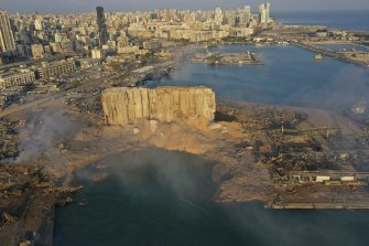A drone picture shows a huge crater caused by the explosion in Beirut.