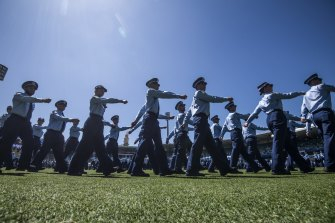 The NSW Police class of 2020 parades at Sydney Cricket Ground in December.
