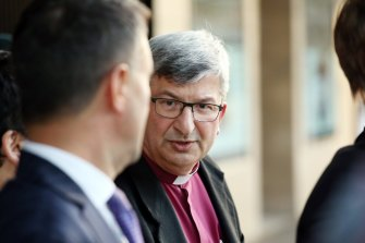 Bishop Roger Herft leaving Newcastle Court House after a session of the Royal Commission into Institutional Responses to Child Sexual Abuse in the Newcastle Anglican Diocese in 2016.