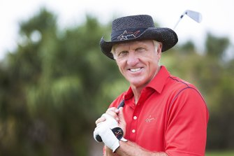 Greg Norman's biggest fan poses at home in 2015.