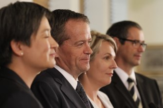 Power plays: In 2013, Bill Shorten (second from left) was Opposition leader, his deputy was Tanya Plibersek (third from left). Leader of the Opposition in the Senate was, and still is, Senator Penny Wong (left) and her deputy at the time was Senator Stephen Conroy.
