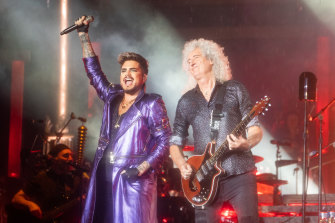 Rock icons Queen, with Adam Lambert filling in for Freddie Mercury.