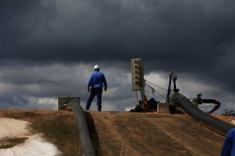 A coal seam gas construction site in the Pilliga Forest near Narrabri.