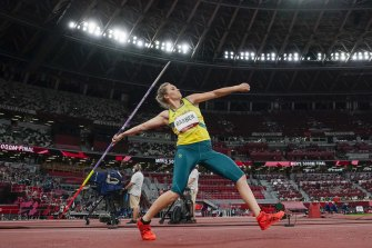 Kelsey-Lee Barber started well in the final of the women's javelin, and steadily got better.