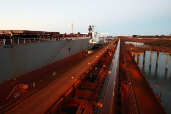 An iron ore carrier docked in Port Hedland.
