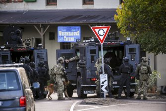 Police outside the Westmeadows Tavern on March 2, 2020.
