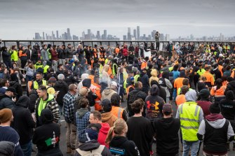 Protesters gather on West Gate Bridge on Tuesday.