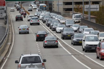 Busy afternoon traffic of Sydney's streets and freeways.