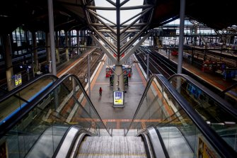 Southern Cross station on a Monday morning during one of Victoria's lockdowns.
