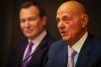 Solomon Lew (right) has upped his stake in struggling department store Myer.